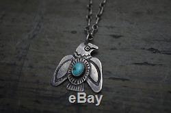 RARE VTG Old Pawn Navajo Necklace Fred Harvey Era Silver & Turquoise Thunderbird