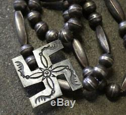 RARE Vintage Old Pawn Navajo Necklace Fred Harvey Era Silver Beads Whirling Log