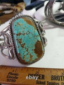 RARE WOW ANTIQUE NAVAJO STERLING FRED HARVEY CUFF HUGE TURQUOISE #8 50grms
