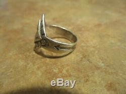 REAL OLD 1920's Fred Harvey Era Navajo Coin Silver WHIRLING LOG Ring Size 5