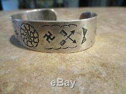 REAL OLD 1920's Fred Harvey Era Navajo Coin Silver Whirling Log Bracelet