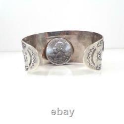 REAL OLD Fred Harvey Era Navajo 925 Silver APPLIED THUNDERBIRD Bracelet LJC3