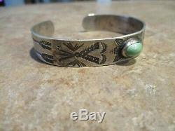 REAL OLD Fred Harvey Era Navajo COIN Silver Turquoise WHIRLING LOG Bracelet