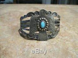 REAL OLD Fred Harvey Era Navajo Sterling Silver Arrow THUNDERBIRD Bracelet