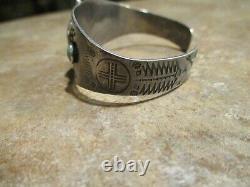 REAL OLD Fred Harvey Era Navajo Sterling Silver Green Turquoise Design Bracelet
