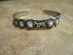REAL OLD Fred Harvey Era Navajo Sterling Silver HORSE DOG Raindrop Bracelet
