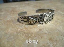 REAL OLD Fred Harvey Era Navajo Sterling Silver INDIAN BRAVE ARROWHEAD Bracelet