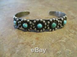 REAL OLD Fred Harvey Era Navajo Sterling Silver Turquoise FLOWER Row Bracelet