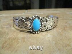 REAL OLD Fred Harvey Era Navajo Sterling Silver Turquoise THUNDERBIRD Bracelet