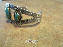REAL OLD Fred Harvey Navajo Sterling Silver Turquoise THUNDERBIRD SNAKE Bracelet