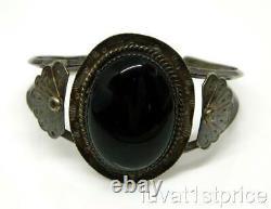 REAL Pawn Fred Harvey Era Navajo Sterling Silver Black Onyx Jet Cuff Bracelet