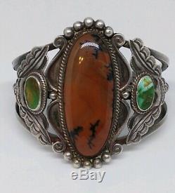 Rare 1930 Sterling Silver Turquoise Petrified Wood Cuff Bracelet Fred Harvey Era
