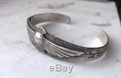 Rare 40s Vintage Fred Harvey Maisels Silver Native Thunderbird Bracelet Mens Sz