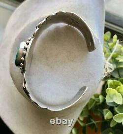 Rare Dan Dodson Sterling Silver Turquoise Fred Harvey Era Style Cuff Bracelet