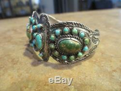Rare Early 1900's Fred Harvey Native Silver Premium Turquoise Cluster Bracelet