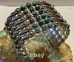 Rare Early Fred Harvey Era Navajo 6 Row Coin Silver & Turquoise Cuff Bracelet