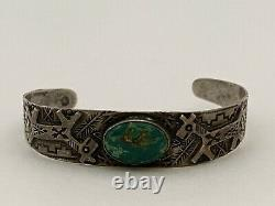 Rare Early Navajo Fred Harvey Era Turquoise Sterling Silver Cuff Bracelet. 925