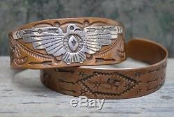 Rare Navajo VTG Old Pawn Whirling Log Arrow Cuff Bracelet Fred Harvey Silver