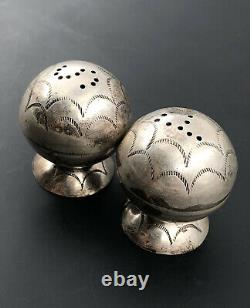 Rare Old Pawn Fred Harvey Era Navajo Sterling Silver Salt & Pepper Shakers