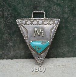 Rare VTG 1920s Navajo Old Pawn Fred Harvey Watch Fob Pendant Silver Turquoise M