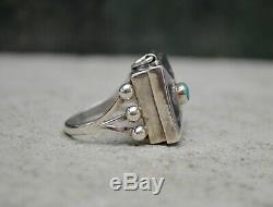 Rare Vintage Navajo Fred Harvey Era Silver Turquoise Native American Poison Ring