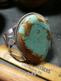 Rare Wow Antique Navajo Sterling Fred Harvey Snake Cuff Huge Turquoise #8