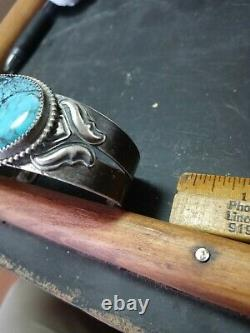 Rare Wow Antique Navajo Sterling Ingot Fred Harvey Cuff Kingman Turquoise