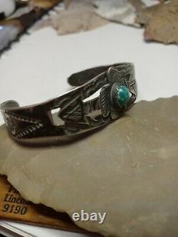 Rare Wow Navajo Sterling Arrow Thunderbird Fred Harvey Cuff Cutout Handmade