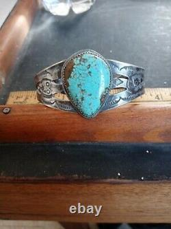 Rare Wow Old Pawn Navajo Sterling Fred Harvey Snake Cuff #8 Turquoise