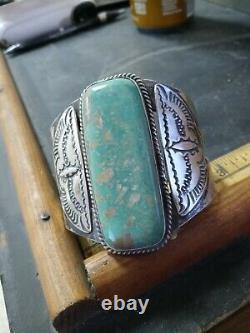 Rare Wow Pawn Navajo Sterling Fred Harvey Wing Cuff. Green Turquoise