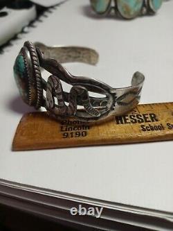 Rare Wow Vtg Navajo Sterling Fred Harvey Snake Cuff. #8 Turq Fun Fun Fun