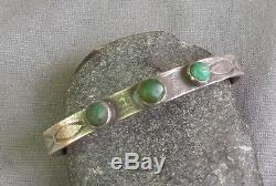 Rustic Vintage Fred Harvey Era Silver Stamped 3 Green Turquoise Cuff Bracelet