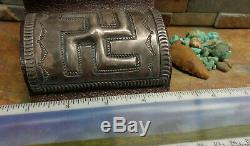 SALE. MUSEUM 1920's NAVAJO SILVER WHIRLING LOG KETOH CUFF OLD PAWN FRED HARVEY