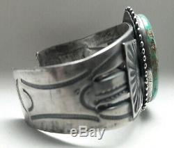 SAVE 10% Fred Harvey Sterling Silver Turquoise cuff bracelet 70 grams