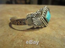 SCARCE Early Fred Harvey Era Navajo Sterling Silver Turquoise FAN Bracelet