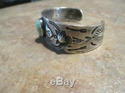 SCARCE OLD 1920's Fred Harvey Era Coin Silver Turquoise WHIRLING LOG Bracelet