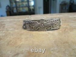 SCARCE OLD Fred Harvey Era BELL Navajo Sterling Silver THUNDERBIRD Bracelet
