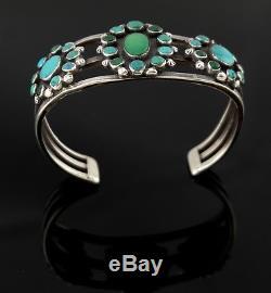 SEE DES Vtg Sterling Silver OLD Fred Harvey Navajo Green Turquoise Cuff Bracelet