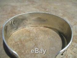 SPECIAL OLD Fred Harvey Era Navajo Coin Silver WHIRLING LOG Repousse Bracelet