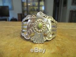 SPLENDID OLD Fred Harvey Era Navajo Sterling Silver Arrow THUNDERBIRD Bracelet