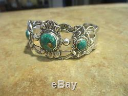 SPLENDID OLD Fred Harvey Era Navajo Sterling Silver PREMIUM Turquoise Bracelet