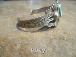 SPLENDID Old Fred Harvey Era Navajo Sterling Silver Arrow Turquoise Bracelet