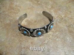 SPLENDID Old Fred Harvey Era Navajo Sterling Silver Turquoise SUNFLOWER Bracelet