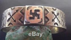 STERLING SILVER WHIRLING LOGS TURQUOISE CUFF BRACELET Fred Harvey era