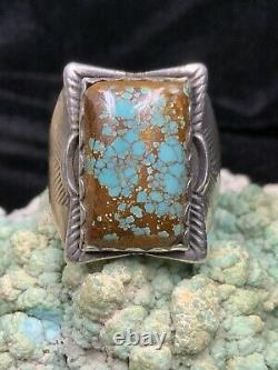 STUNNING! Fred Harvey Era, Sterling Silver & Spiderweb Number 8 Turquoise Ring