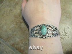 Scarce OLD Fred Harvey Era Navajo INDIAN HANDMADE Coin Silver Turquoise Bracelet