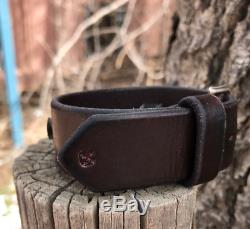 Silver Southwest Cuff Fred Harvey Style Leather Strap with Double Arrows BUFFALO