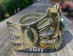 Silver Turquoise Fred Harvey Era Navajo Butterfly Bracelet