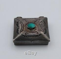 Spectacular 1940 Sterling Silver Turquoise Pill Box Fred Harvey Era