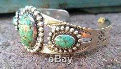 Spiderweb Turquoise Vintage Navajo Fred Harvey Sterling Silver Cuff